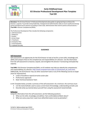 "Tool Pp €"" Ecia Board Professional Development Plan Template"