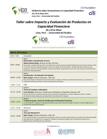 Taller sobre Impacto y Evaluación de Productos en Capacidad ...
