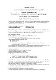 Diversity in East Asian and other non-Indo-European languages