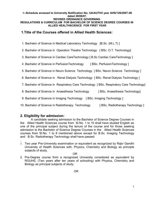paramedical courses) - Revised syllabus and scheme