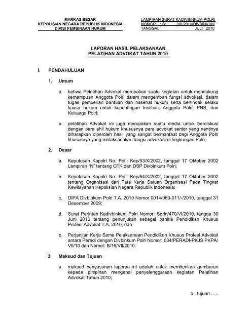 Laporan Hasil Pelaksanaan Pelatihan Advokat Tahun Ppid Polri