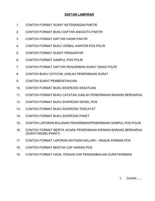 Daftar Lampiran 1 Contoh