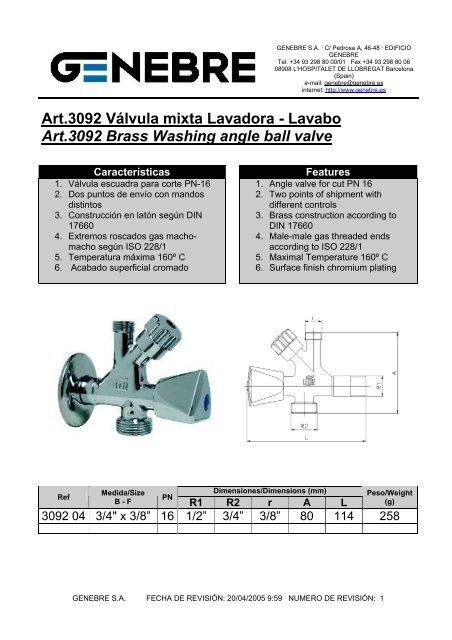 Lavabo V/álvula mixta Lavadora