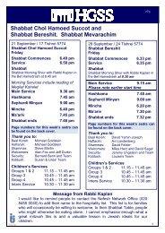 HGSS News 20 9 13 - Hampstead Garden Suburb Synagogue