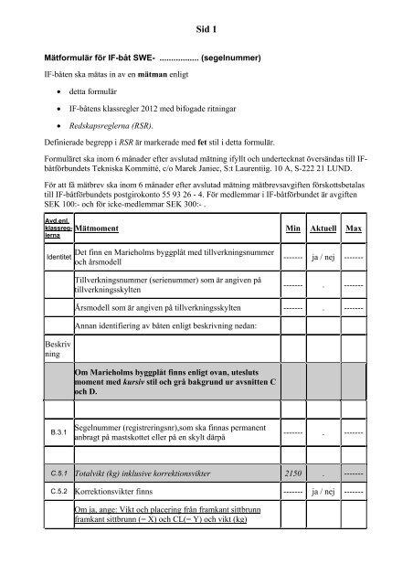Mätformulär för inmätning av IF-båt (PDF) - Svenska IF-båtförbundet