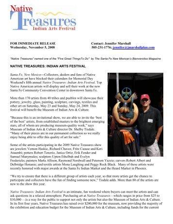 Native Treasures: Indian Arts Festival Fact Sheet - The Marshall Plan