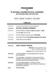 PROGRAMME of V NATIONAL PHARMACEUTICAL CONGRESS