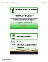 Cartagena Protocol on Biosafety Presentation Outline Part I ...