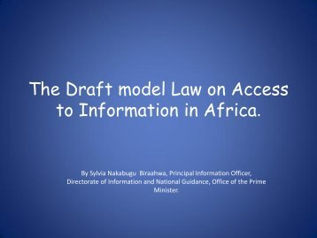 The draft model law on Access to Information in Africa.