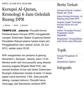 Korupsi Al-Quran, Kronologi 6 Jam Geledah Ruang ... - Kliping Berita