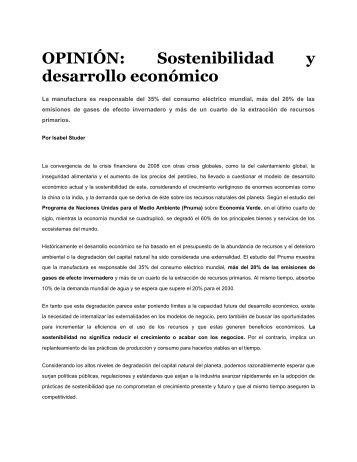 Sostenibilidad y desarrollo económico - Instituto Global para la ...