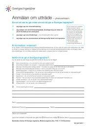 Anmälan om utträde – yrkesverksam - Sveriges ingenjörer