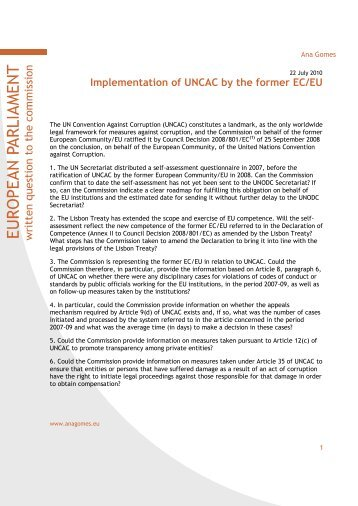 Implementation of UNCAC by the former EC/EU - Ana Gomes