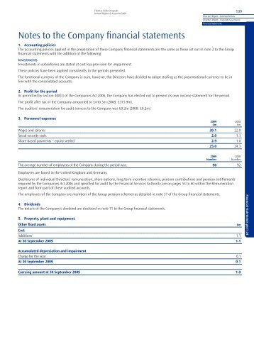 Notes to the Company financial statements - Thomas Cook Group ...