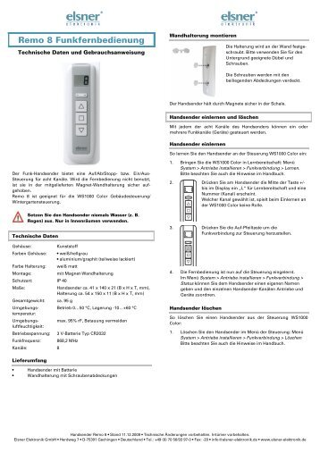 Montage - Bedienungsanleitung herunterladen - Markisen-kauf.de