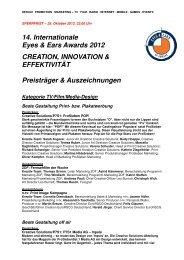 14. Internationale Eyes & Ears Awards 2012 CREATION - EEOFE