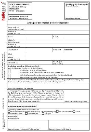 Antrag auf besonderen Beförderungsdienst weiblich - Stadtelternrat
