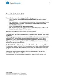 Patientsäkerhetsberättelse 2011 - Capio