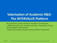 Valorisation of Academic R&D: The INTERVALUE Platform - Urenio