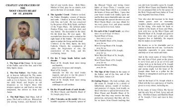 Pamphlet of the image, chaplet, consecration, and litany of St. Joseph