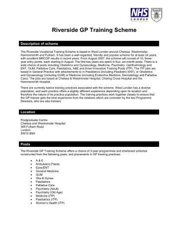 Riverside GP Training Scheme - London Deanery