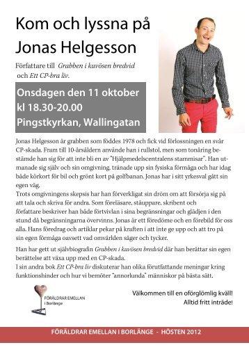 Kom och lyssna på Jonas Helgesson - Borlänge - Pingst.se
