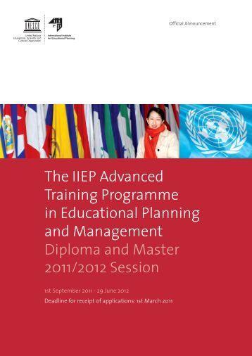 The IIEP Advanced Training Programme in ... - IIEP - Unesco