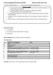Lokal Pedagogisk Planering i Fysik N8 Ämnesområde: Ljud, Ljus,