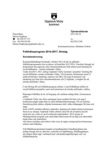 Folkhälsoprogram 2014-2017, förslag - Upplands Väsby kommun