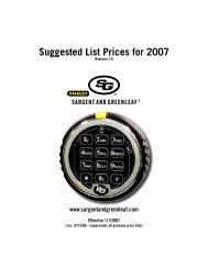 2007 Product Pricing - Sargent and Greenleaf