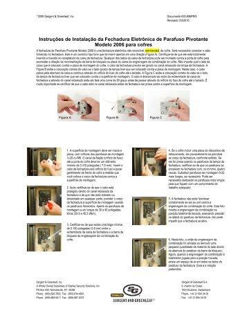 Instruções de Instalação da Fechadura Eletrônica de Parafuso ...