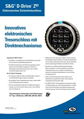 Innovatives elektronisches Tresorschloss mit Direktmechanismus