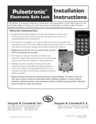 Installation Instructions - Sargent and Greenleaf
