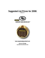 Suggested List Prices for 2006 - Sargent and Greenleaf