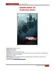 SHARK NIGHT 3D Production Notes - Visual Hollywood