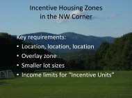 Incentive Housing Zones in the NW Corner