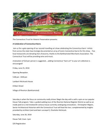 A Celebration of Connecticut Barns Join us for a gala opening of