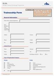Traineeship Form - ELSA Germany