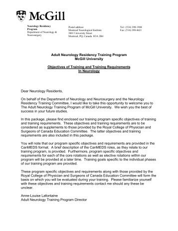 Adult Neurology Residency Training Program McGill University ...