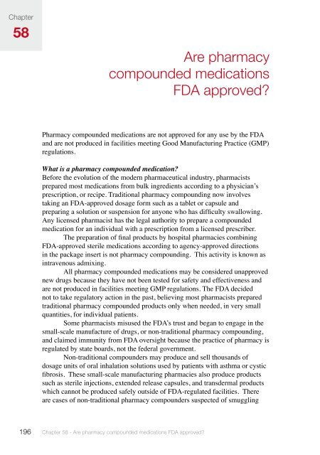 Are pharmacy compounded medications FDA approved? 58