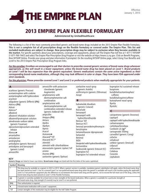 2013 EMPIRE PLAN FLEXIBLE FORMULARY