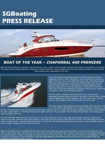 SGBoating PRESS RELEASE BOAT OF THE YEAR – CHAPARRAL ...
