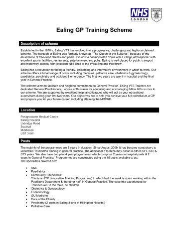 Ealing GP Training Scheme - London Deanery