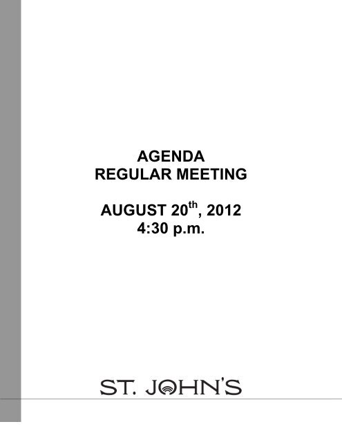 Council Agenda Monday, August 20, 2012 - City Of St. John's