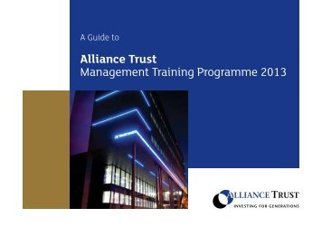 Our Management Training Programme - Alliance Trust