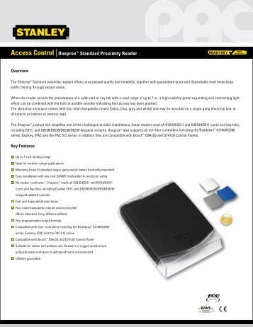 access control oneproxtm standard proximity reader stanley pac?quality=85 promi 500 proximity access control system installation cdvi pac reader wiring diagram at gsmportal.co