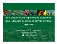 Implantation d'un programme de biosécurité pour l'utilisation de ...
