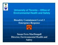 University of Toronto – Office of Environmental Health and Safety ...