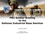 PEO Soldier Briefing to the Defense Industrial Base Seminar