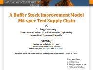 A Buffer Stock Improvement Model Mil-spec Tent Supply Chain